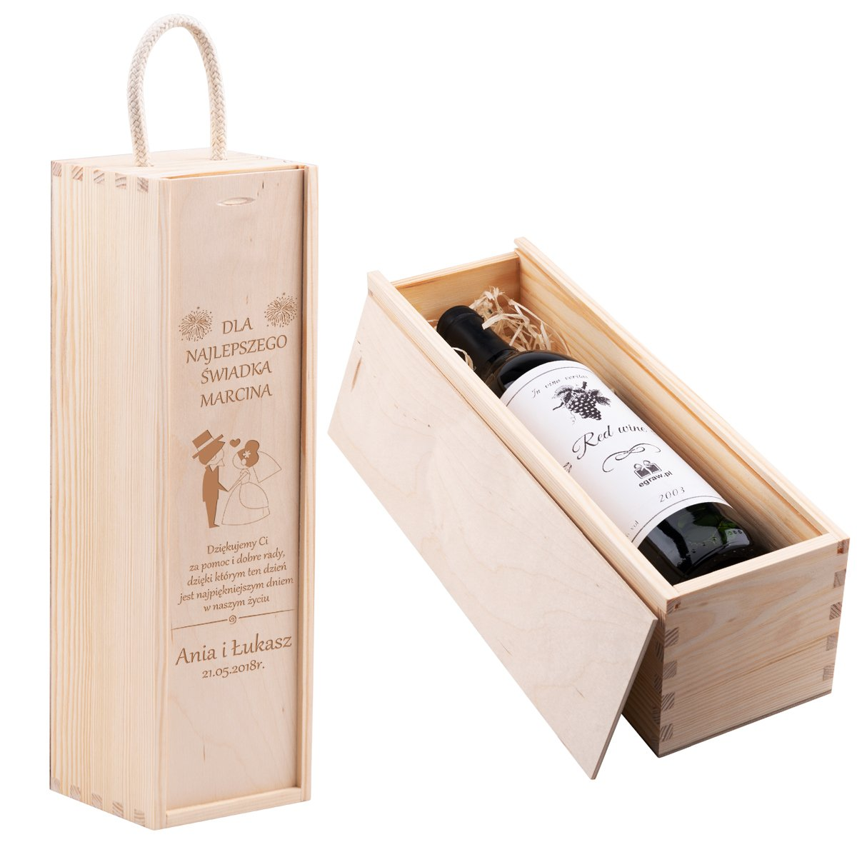 Skrzynka Na Wino Prezent ślub Urodziny Z Grawerem Okazje ślub